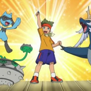 Samurott celebrando su victoria con Cameron y sus compañeros Pokémon.