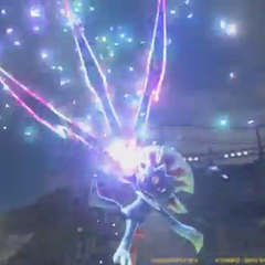 Weavile ejecutando un ataque durante su estado especial.