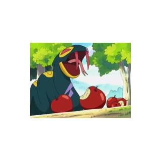 Seviper comiendo unas manzanas.