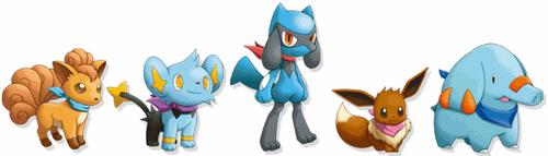 Vulpix, Shinx, Riolu, Eevee y Phanpy en Mundo Misterioso 3