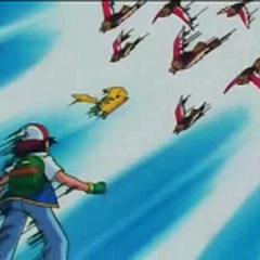 Pikachu protegiendo a Ash.