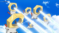 EP1054 Varios Meltan usando Foco resplandor contra el Team Rocket