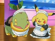 EP531 Turtwig y Pikachu vestidos para atender en el café