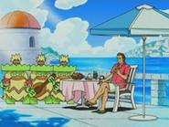 EP476 Ludicolo acompañando a Giovanni en su almuerzo