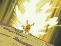 EP283 Pikachu de Ash usando rayo
