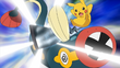 EP787 Pikachu usando cola férrea contra Eelektrik