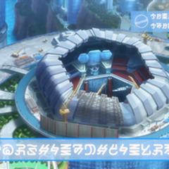 Estadio de la Liga de Kalos en construcción en el <a href=