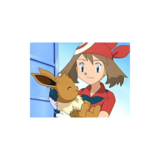 Eevee junto a May/Aura.