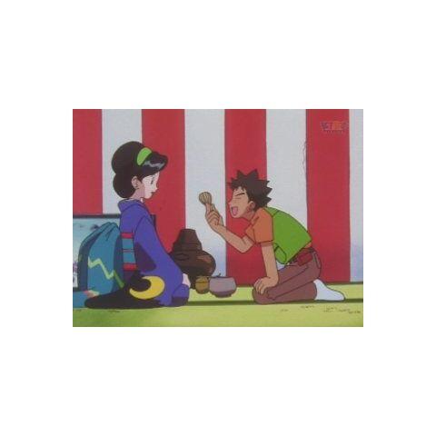 Brock convenciendo a Satsuki para que le haga un capuchino