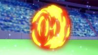EP643 Cyndaquil de Dawn usando rueda fuego