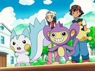 EP523 Ash y Maya con Pachirisu y Aipom