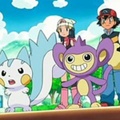 Ash y Maya con Pachirisu y Aipom.