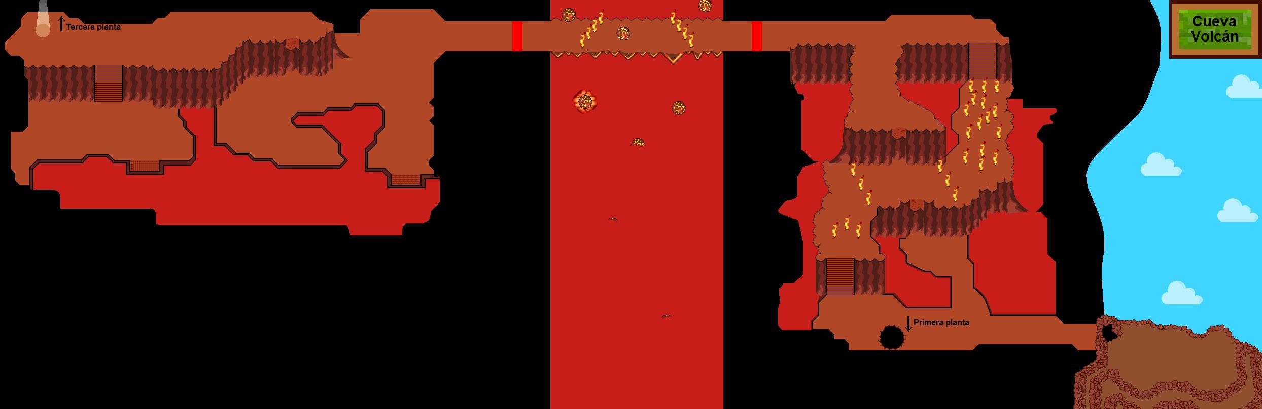Plano de Cueva Volcán (segunda planta)