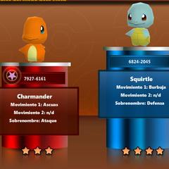 Charmander y Squirtle en Pokémon Rumble.