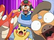 EP447 Ash Corphish Pikachu y Tauros