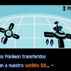 El <b>Rayo Link</b> transfiere los Pokémon al satélite SOL, y de éste pasan a la base SOL.