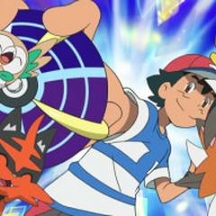 Poipole siendo capturado por Ash.