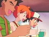 EP161 Brock, Misty y Ash bebiendo leche Mu-mu