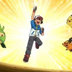 Ash celebrando su victoria en el Gimnasio Porcelana.