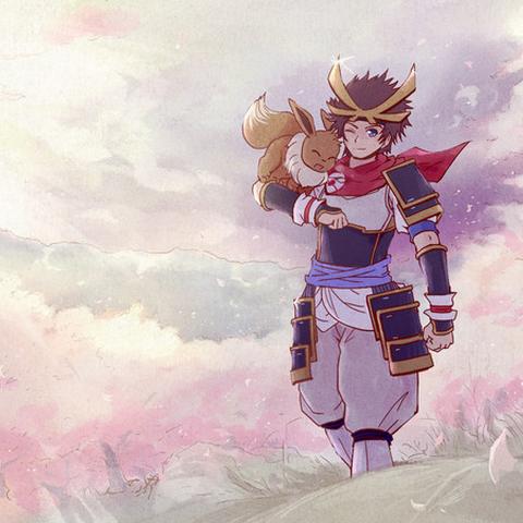 Ilustración del Héroe junto con su Eevee