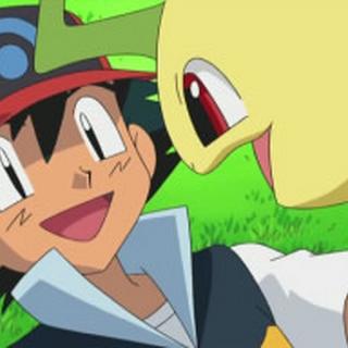 Bayleef junto a Ash.