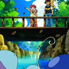 Paige repartiendo galletas a los Pokémon del bosque.