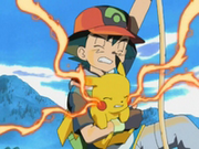 EP277 Pikachu y Ash subiendo por la cuerda