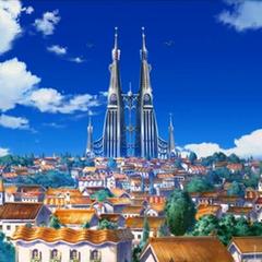 Torres vistas en la lejanía alzándose sobre el pueblo.