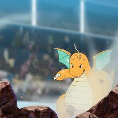 Dragonite usando Vendaval contra Mega-Lucario.