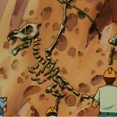 Un esqueleto fosilizado de <a href=