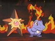 EP183 Staryu de Misty y Totodile de Ash listos para apagar el fuego