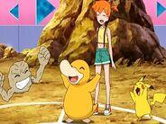 Geodude de Brock con Psyduck y Pikachu