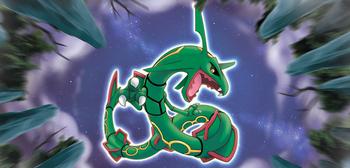 Ilustración de Rayquaza en el TCG