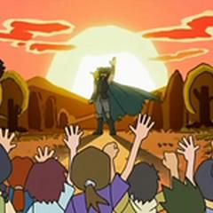 ...y después de derrotar a Spiritomb lo selló en lo profundo de una torre de piedra para que así jamás volviera a dañar a nadie y luego se fue.