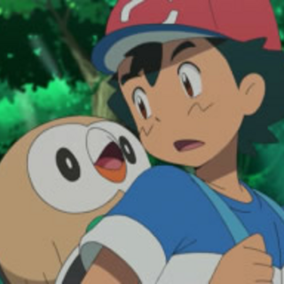 Rowlet en la mochila de Ash