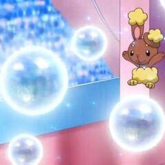 ...Buneary salta sobre las burbujas para lucir su cuerpo y su agilidad...