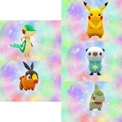 Los protagonistas del juego. Pikachu; Oshawott, Axew, Snivy y Tepig.