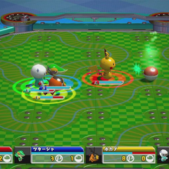 Para capturar a un Pokémon, cogemos su cápsula, que aparecerá a veces tras derrotarle.