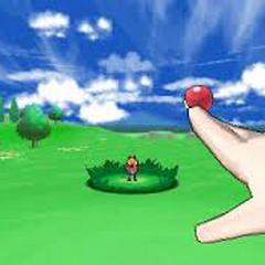 El protagonista masculino lanza una Poké Ball hacia Fletchling.