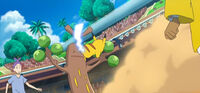 EP1072 Pikachu usando Cola férrea contra un Sudowoodo