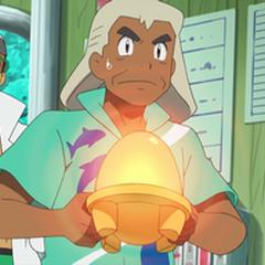 Samson/Gabriel Oak con el huevo de Vulpix a punto de eclosionar.