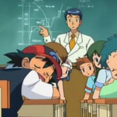 Ash y Angie dormidos en clase.