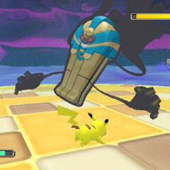 Pikachu contra Cofagrigus.