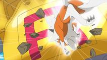 Lycanroc usando roca veloz
