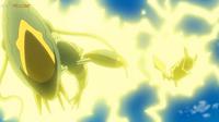 EP1072 Pikachu usando Rayo contra un Clawitzer