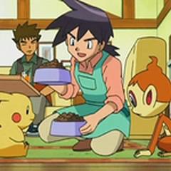 Reggie atendiendo a los Pokémon de Ash.