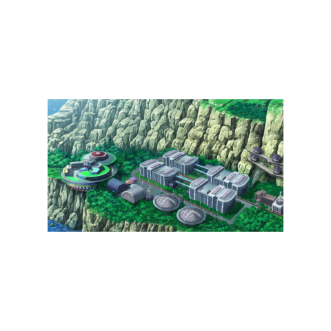 Los Laboratorios Lysandre/Lysson en el anime. Al costado está ubicada la <a href=