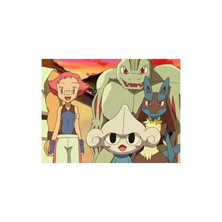 Machoke junto con los otros Pokémon de Maylene/Brega.