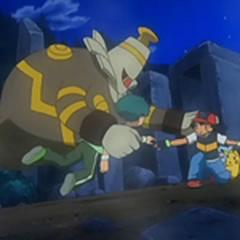 Dusknoir protegiendo a Ash y a Angie de ser absorbidos al mundo de los espíritus.