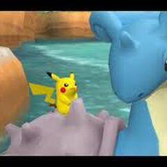 Pikachu viajando sobre un <a href=